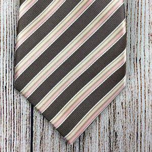Pink Brown Tan Regimental Stripe Silk Tie Italy